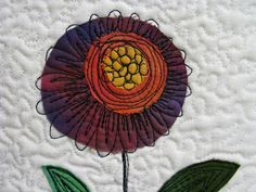 Quilting flower beyond the edges