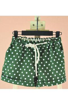 Dots Printing Elastic Waist Turned Cuff Shorts $18.00