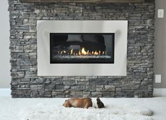 gray stacked stone fireplace