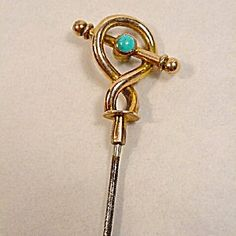 Edwardian Hatpin, Very Long, Gold, Turquoise.