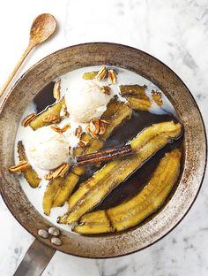poached bananas
