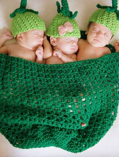 Peas in a Pod Crocheted Photo Prop Outfit by MerrilyMadeByMary, $35.00