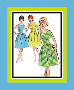 Vintage 1960s HAPPY HOUSEWIFE DRESS Sewing by FarfallaDesignStudio, $15.00