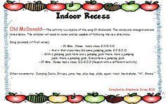 Indoor Recess ideas
