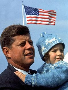 Former U.S. President John F. Kennedy and his daughter Caroline Kennedy on Election Day in 1960