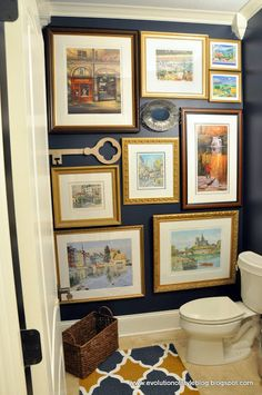 Love the paint color, but really love the wall decor idea for a powder room. Gentleman's Gray by Benjamin Moore - paint color