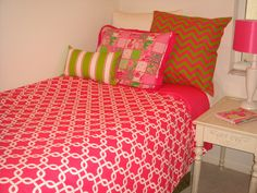 #preppy custom dorm room bedding