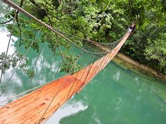 Rope Bridge at Rio Blanco, Guatemala...