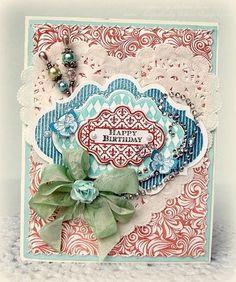 Happy Birthday card designed by Melissa Bove using Fleur de Lis Labels twenty, Musical Notes Labels Twenty and Elegant Fronds background stamp.