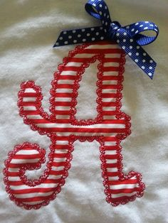 Applique Letter Initial  Patriotic July 4th Fourth Military Tshirt Bodysuit any size  embroidered monogrammed