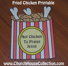 Church House Collection Blog: Not Chicken To Praise Jesus Cutout Printable Template Craft For Sunday School Kids-Preschool Kindergarten Fried Chicken Bulletin Board Idea or Coloring Page.  #Fried #chicken #Jesus #printable #sunday #school #crafts #templates #kids #ministry #Praise