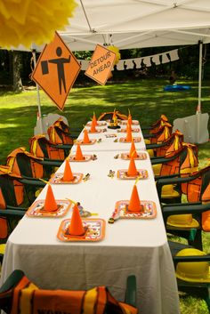 Construction Site Birthday Party - Kids Table