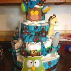 diaper cakes, owl diaper
