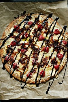 Raspberry, Apple, Gruyere Pizza with a Balsamic Glaze - sweet and savory! @Stephanie Close Snarski