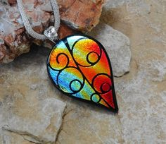 Autumn Jewlery Dichroic Fused Glass Pendant Etched by GlassCat