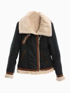 Navy Shearling Coat Contrast Leather Look Detail $80.99