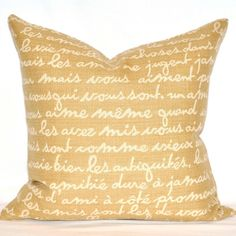 French script pillow