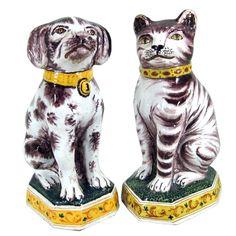 Dutch Tin-glazed Earthenware Models of a Dog & Cat
