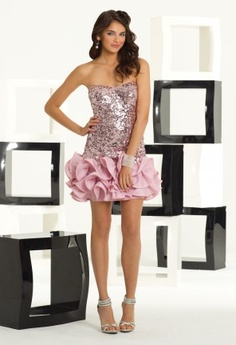 Short Dresses - Strapless Sequin and Ruffle Bottom Prom Dress from Camille La Vie and Group USA