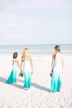 Flower girls in blue ombre dresses by Chasing-Fireflies. Sanibel Island Florida Wedding from Laura Elizabeth Photography.