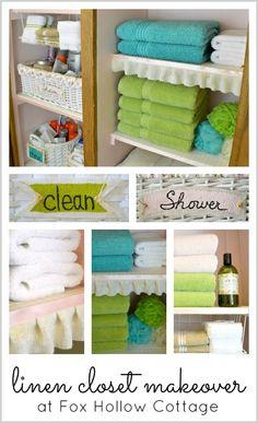 Shop Your Home for a Zero Budget Linen Closet Makeover. #linen closet #orginization