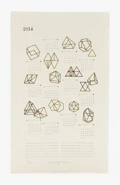 This limited edition 2014 Prism Calendar features gold foil geometric prism drawings on gorgeous speckletone paper <3 $33