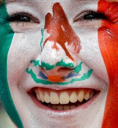 All about the details for a Mexico fan smiles in the men's soccer team to play Senegal.