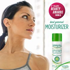 """Congrats to @SimpleSkincare on being named best """"general moisturizer"""" in 2014 by Health Magazine! @goodhealth #KindtoSummerSkin"""