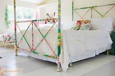 fabric covered bed frame! so fun!  » ashleyannphotography.com