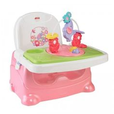 The Pretty in Pink Elephant Booster brings babies right up to the dinner table and also provides a snap-on toy tray to keep baby busy.
