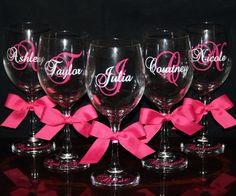 Personalized Bride and Bridesmaid Wine Glasses - Cute Wedding Gift!
