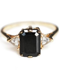 emeral-cut black diamond | ANNA SHEFFIELD, $4500.00