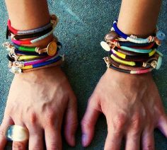 Leather and thread stacking bracelets. Easy DIY!