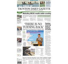 The front page of the Taunton Daily Gazette for Thursday, Sept. 18, 2014.