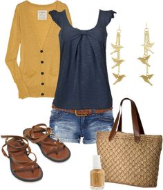 Navy tank, mustard sweater, light wash jean shorts, brown sandals.