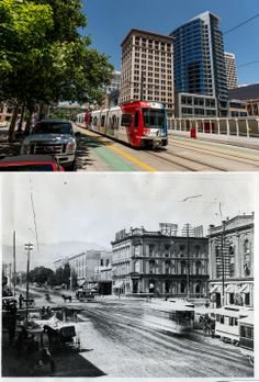 Looking north east on Main Street, just south of 100 South, in Salt Lake City, Tuesday June 3, 2014 and the same view seen sometime in the 1860s. (Trent Nelson  |  The Salt Lake Tribune)