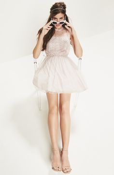 Cute for homecoming! The sequins on this A-line ballerina dress are so sparkly.
