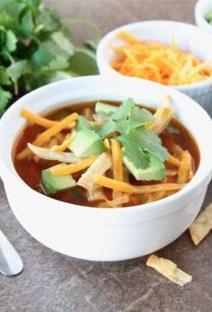 Chicken Fajita Soup Recipe on twopeasandtheirpod.com