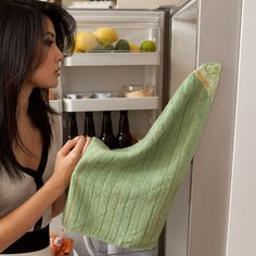 Sew magnets in the corners of your kitchen towels for easy storage!