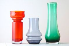 Trio of Vases Riihimaki Art Glass Finland von afterglowretro, £85.00