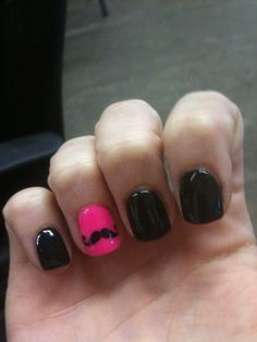 Black with pink accent nail