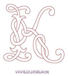 Monogram for Hand Embroidery: Celtic K
