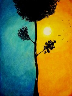 """Saatchi Online Artist: Kyle Brock; Acrylic, 2012, Painting """"Home to Roost"""". I really like the juxtaposition of the blue and its complement, orange. I also think the tree is symbolic of the two ways you can look at nature."""