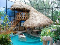 LOVE this design for a tropical pool