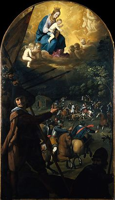 Francisco de Zurbarán (Spanish, 1598–1664). The Battle between Christians and Moors at El Sotillo, ca. 1637–39. The Metropolitan Museum of Art, New York. Kretschmar Fund, 1920 (20.104)   n 1370 the Spanish forces were saved from a night ambush when a miraculous light revealed the hidden Moorish troops. #horses