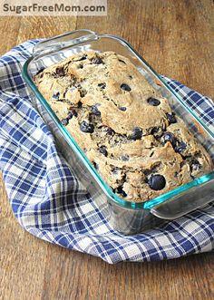 Gluten Free Sugar-Free Blueberry Banana Bread / sugarfreemom.com