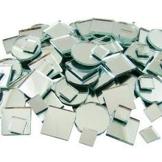 Jennifer's Mosaics 150 Count Plain Mirror Mosaic Tile Assortment, Silver