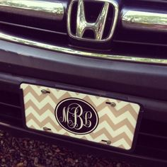 Monogrammed License Plate