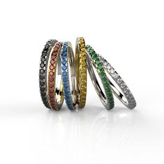 Eternity Ring, Stackable 14K Yellow or White gold Wedding Band, Wedding Ring Set with Your Birth Gemstone, Stack Ring for Her. on Etsy, 1,726.78₪
