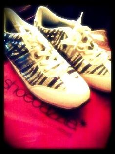 SEQUIN ZEBRA PRINT SNEAKERS NEW UNUSED! $25. click picture to purchase!